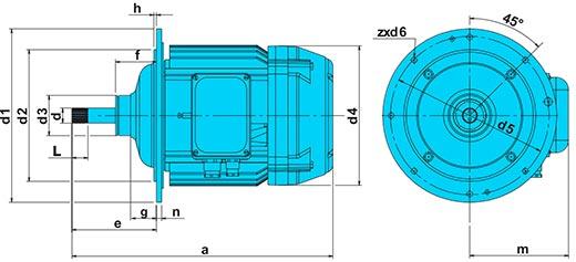 Электродвигатель КГ 2714-6 габаритные размеры