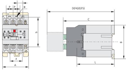 контактор NC1-50 размеры